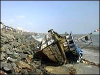 Boat wrecked by tsunami