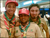 Jimmy Kakoo (middle) with two scout friends