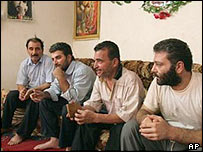 Freed hostages identified themselves as (from right to left) Hisham Salem, Mustafa Abdul-Rassoul Hussein, Atta Ibrahim and Haji Alawi
