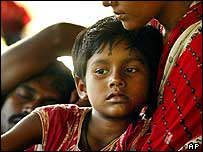 A mother and child from Car Nicobar island at a relief camp in Port Blair