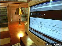 A computer sits in one of the reading rooms at the New York Public Library