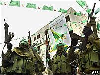 Cobatientes enmascarados de la organización radical palestina Hamas en Naplusa, Cisjordania, el 18 de diciembre pasado