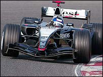 Juan Pablo Montoya in action in the McLaren