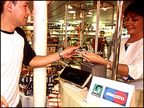 Shopper using Switch card