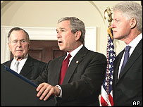 George Bush Senior (left), George W Bush and Bill Clinton