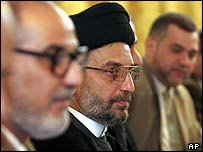 Iraqi Shia leader Abdul-Aziz al-Hakim attends talks on the constitution