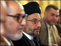Iraqi Shia leader Abdul-Aziz al-Hakim attends talks on the constitution