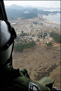 US Navy helicopter over Aceh, Indonesia