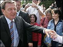 Gerhard Schroeder on the campaign trail
