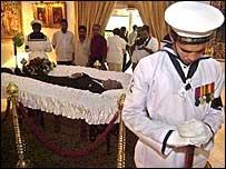 Lakshman Kadirgamar's body lying in state