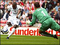 Darren Bent opens the scoring for Charlton against Sunderland