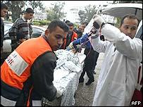 An injured Palestinian is taken to Shifa hospital