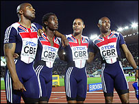 GB's 4x100m relay team (from left to right): Mark Lewis-Francis, Christian Malcolm, Jason Gardener and Marlon Devonish