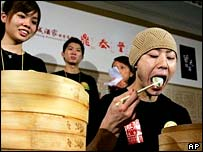Takeru Kobayashi in the dumpling eating contest in Hong Kong