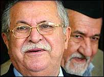 Iraqi President Jalal Talabani with Sunni leader Adnan al-Dulaimi