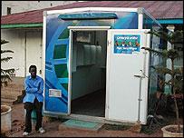 A Simu ya watu phone container in Kigoma