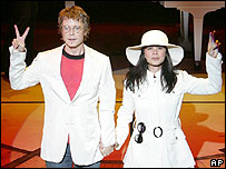 Will Chase as John Lennon and Julie Danao-Salkin as Yoko Ono in Lennon