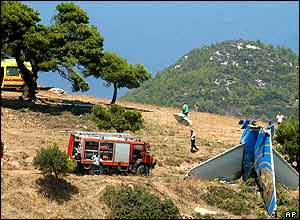 Scene at crash-site near Athens
