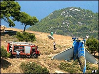 A plane's tail fin after crashing near Athens