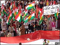 Demonstrators in Dohuk on 14 August 2005