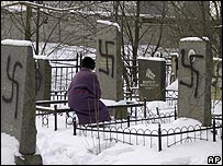 Vandalised Jewish cemetery in St Petersburg