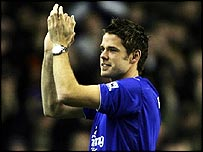 James Beattie is unveiled to the Everton fans