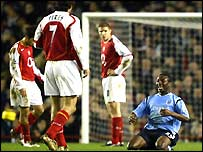 Shaun Wright-Phillips celebrates his goal at Highbury
