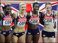 GB's 4x400m relay team celebrate their bronze