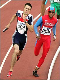 Martyn Rooney in the men's 4x400m relay final where Britain finished fourth
