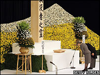Emperor Akihito (R) and Empress Michiko bow to pray during a memorial ceremony for the people who died in World War II August 15, 2005 in Tokyo