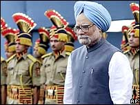 Manmohan Singh at an Independence Day parade in Delhi