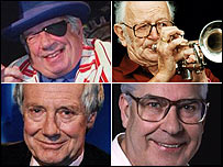 Clockwise from top left - George Melly, Humphrey Lyttleton, Barry Took, Barry Norman