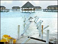 A destroyed jetty at the Medhufushi Hotel on the Meemu atoll, the Maldives