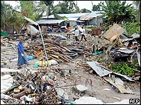 Destroyed homes on Huraa island in the Maldives
