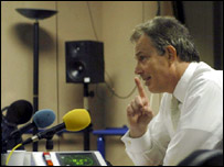 Prime Minister Tony Blair in the BBC Radio Today studio