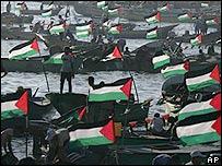 Celebración de pesacadores palestinos