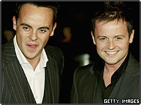 Ant (left) and Dec (right) arrive at the 'British Comedy Awards 2004