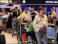 BA passengers waiting at Heathrow