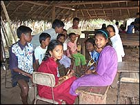 Child survivors in a relief camp in Mullaitivu
