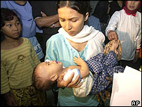 A child orphaned by last Sunday's earthquake and tsunami cries as aid workers escort the baby into the Halim Airport terminal, Sunday, Jan. 2, 2005, in Jakarta, Indonesia for treatment.