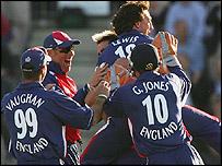England celebrate their Twenty20 win over Australia at the Rose Bowl