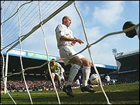 The ball crosses the line during the 2003 FA Cup sixth round match between Leeds and Crystal Palace