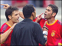Spain's Fernando Morientes and Fernando Hierro complain to Egyptian referee Gamal Ghandour in the 2002 World Cup match against South Korea