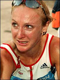 Paula Radcliffe in tears at the Athens Olympics