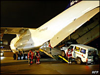 German aid loaded on cargo plane
