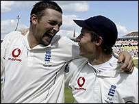 Match-winners Steve Harmison (left) and Geraint Jones celebrate at Edgbaston
