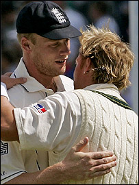 Star performers Flintoff and Warne show their mutual admiration