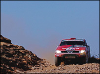 Colin McRae on the fifth stage of the Dakar Rally