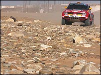 Stephane Peterhansel's Mitsubishi on the fifth stage of the Dakar Rally