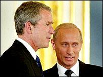 George W Bush and Vladimir Putin
